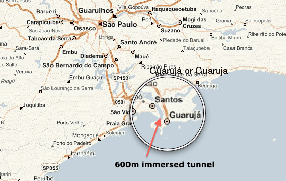 Santos and Guaruja lie on Brazil's Atlantic coast