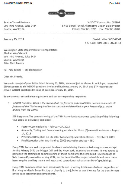 Correspondence between STP and WSDOT