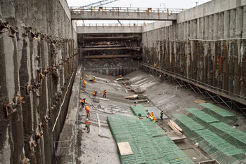 Construction of the TBM launch bay