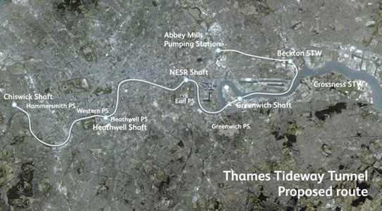 Fig 1. Tideway aligment with the Lee Tunnel to the north east