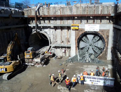 Construction crew celebrates wrapping up tunneling on the Spadina Line Extension southern contract