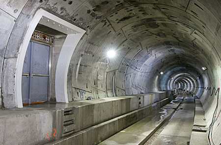 Southern tunnel with emergency exit, inverts and walkways