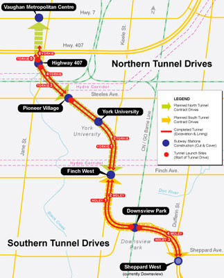 Spadina Line tunnel drives