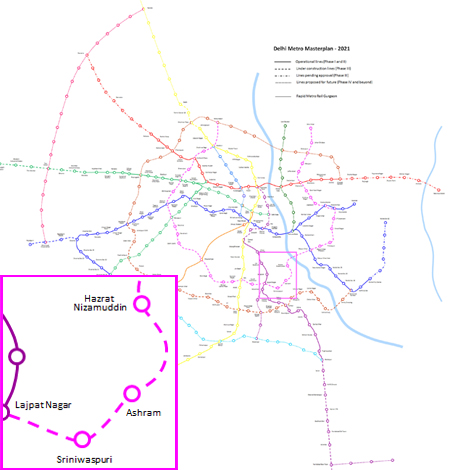 The new EPBMs will be used on the twin running tunnels between Lajpat Nagar and Hazrat Nizamuddin Stations on the pink (colour) Line