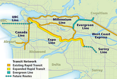 Vancouver area transit network