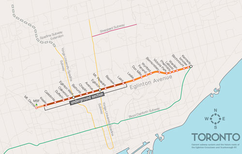 Alignment of the 19km Crosstown LRT with 11.25km and 12 of the 25 stations located underground