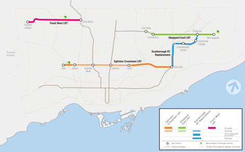 Fig 2. Planned transit project alignments in Toronto