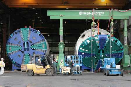 The twin set of Herrenknecht EPBMs for contract U220 in the final phases of testing