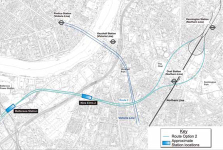 The preferred Northern Line Extension route involves two new stations and a twin-bored 3km tunnel