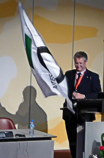BTC President Hugo Cassio Rocha took over the ITA WTC flag from Switzerland in Geneva