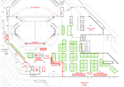 Location of upper floor exhibitor booths