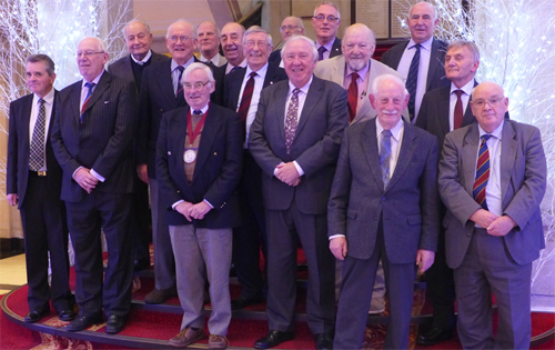 BTS James Clark Medal recipients at the 2013 luncheon (from left): Alan Dyke, Roger Remmington, John Bartlett OBE, Alastair Biggart OBE, Rodney Craig (front), Ged Pakes (back), Gordon Ince, Maurice Gooderham, Oliver Bevan (back), Hugh Doherty, Dave Court (back row), Colin Mackenzie, Denis Lawrenson (front), Donald Lamont MBE (back), Martin Knights, and Myles O'Reilly