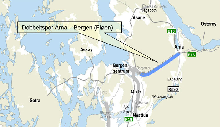 Bergen-Arna 7.8km parallel tunnel alignment