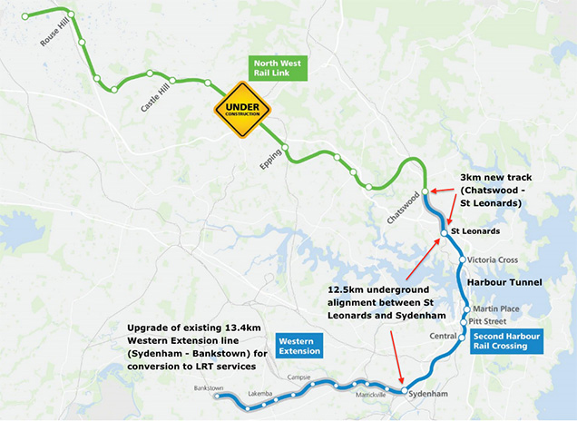 Sydney Rail Transit Project includes 12.5km of twin running tunnels and a harbour link