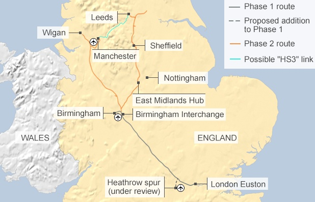 Proposed new HS3 link between Manchester and Leeds