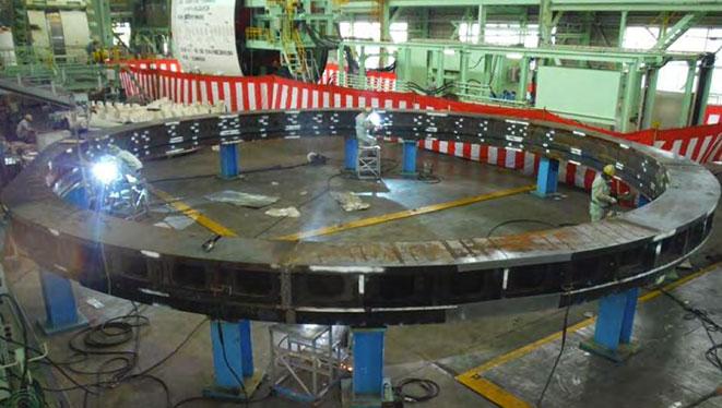 Bearing block undergoing modification in Japan
