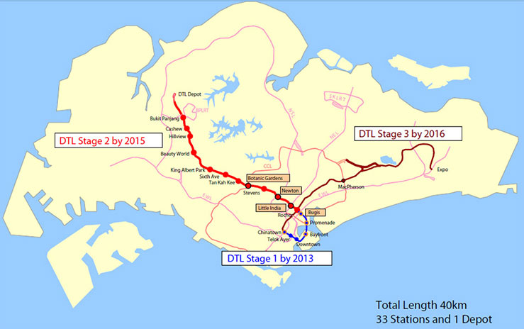 Singapore Downtown Line 2 (red)
