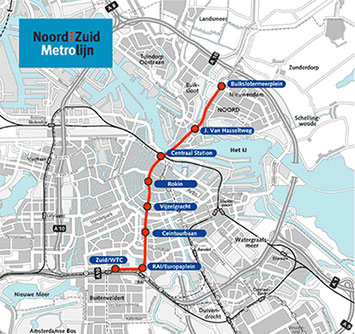 North-South Metro Line is TBM bored between Centraal Station and Europaplein, with an immersed tunnel under the IJ