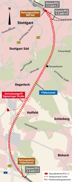 9.5km Filderstadt Tunnel alignment