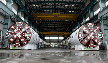 Twin flood control TBMs prior to delivery