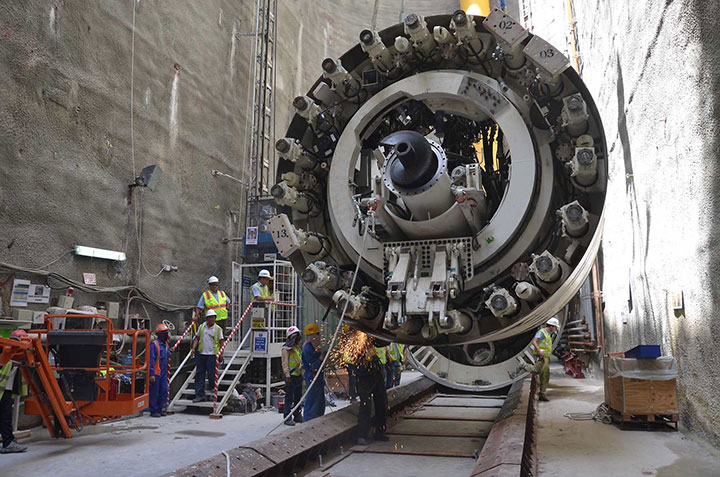 Site assembly of the first TBM