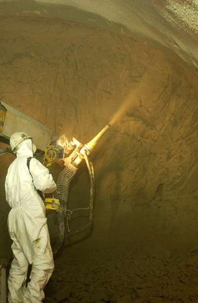 Steel-fiber and polyfiber shotcrete lining