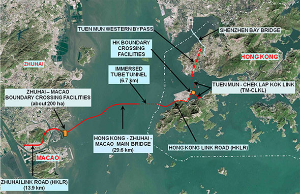 Aerial view of Hong Kong and its new undersea and fixed ocean link highway connections
