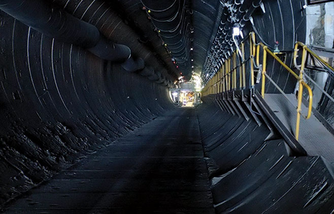 1,100m long access tunnel is at 16.5% incline
