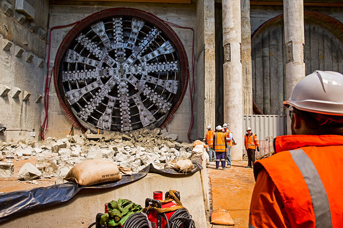 Workers admire TBM Alice achievement