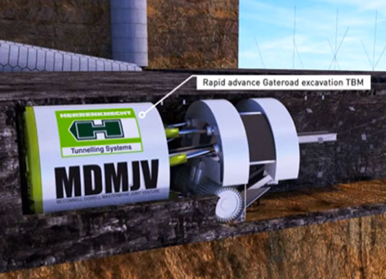Flat invert TBM for in-seam excavation