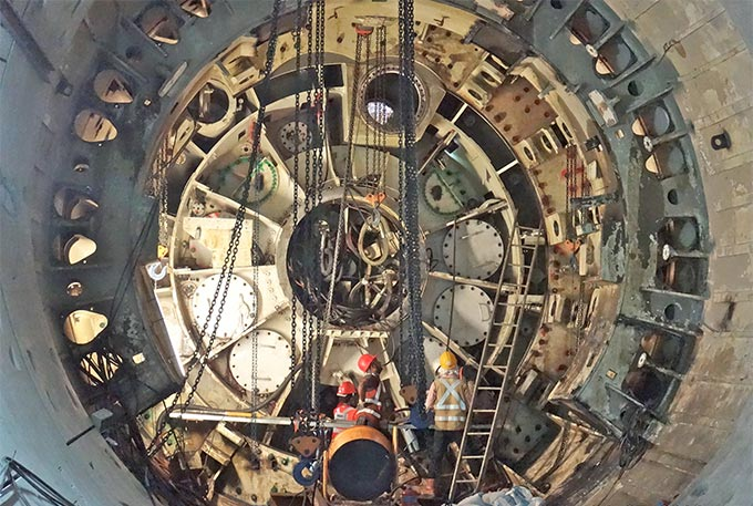 Blind-hole TBM disassembly process in progress