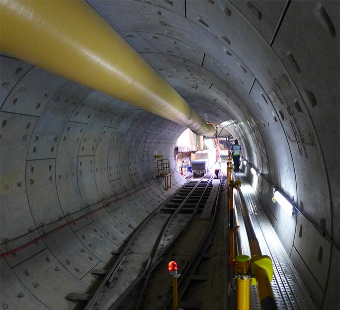 A fine tunnel in the wake of the Robbins EPBM