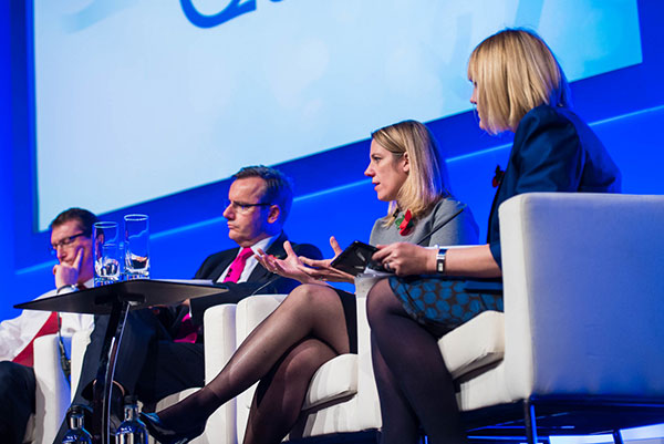 HS2 panel discussion, left to right: Alistair Kirk, HS2 Programme and Strategy Director; Simon Kirby, HS2 Chief Executive; Beth West, HS2 Commercial Director; event host Nadine Dereza