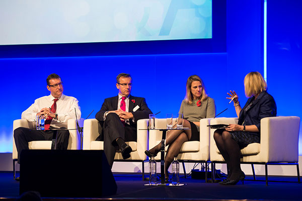 Left to right: HS2 executives Alistair Kirk (Programme and Strategy Director), Simon Kirby (CEO) and Beth West (Commerical Director) answer questions posed by Manchester conference host Nadine Dereza