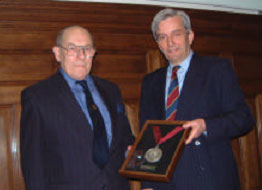 Receiving the 2003 James Clark Medal from BTS Chairman Anthony Umney (right)