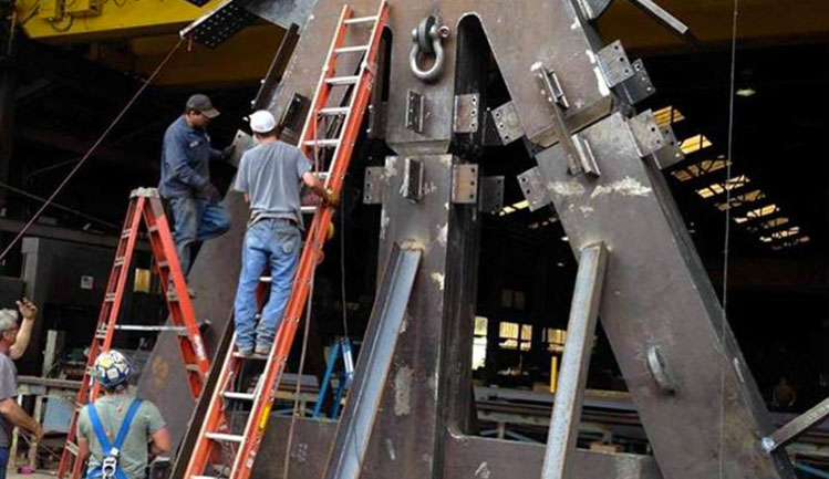 Constructing the platform pillars at Hudson West Yard