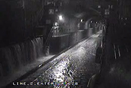 Flood waters rising in East River tunnel (2012)
