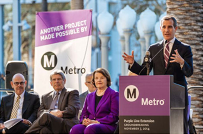 Los Angeles Mayor Eric Garcetti leads the groundbreaking ceremony with (seated from left) California Representative Henry Waxman, Metro Supervisor Zev Yaroslavsky, and California Senator Dianne Feinstein