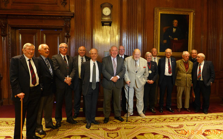 Recipients of the James Clark Medal (and the year of award) at the 2014 celebration luncheon (from left): Maurice Gooderham (2005), Peter Jaques (2014), Dave Court (2012), Donald Lamont MBE (2009), Andy Sindall (2013), Hugh Doherty (1996), Roger Remmington (1993), Colin Mackenzie (1999), Rodney Craig (2004), Ged Pakes (1997), Oliver Bevan (1992), Denis Lawrenson (2000), John Barlett OBE (1994), and Myles O
