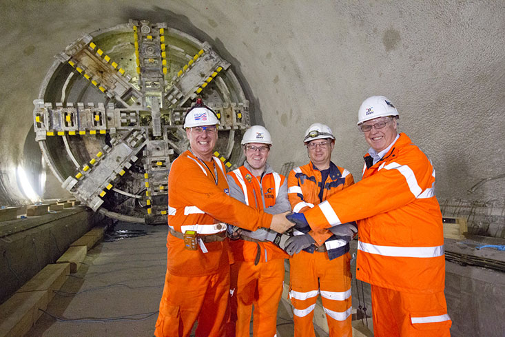 Celebrating SCL works completion at Whitechapel Station, l-r, Graham Welsh (Dragados Sisk), Peter Walsh (BBMV), Paul Sperring (Dragados Sisk), and Nigel Russell (BBMV).