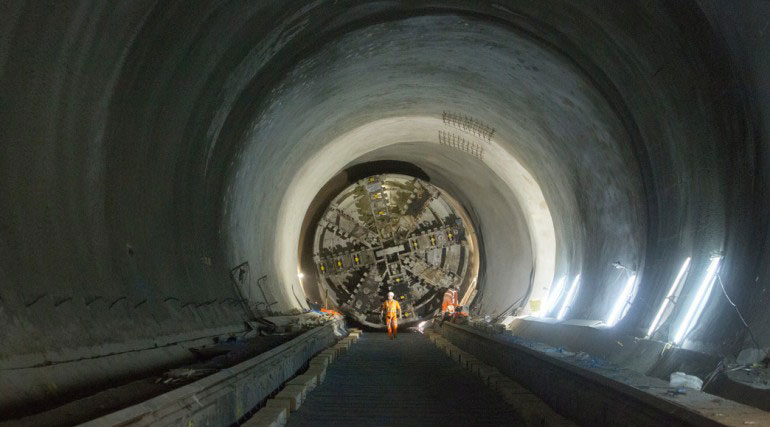 TBM Elizabeth awaiting pull through following completion of the SCL works by the BBMV joint venture at Whitechapel Station