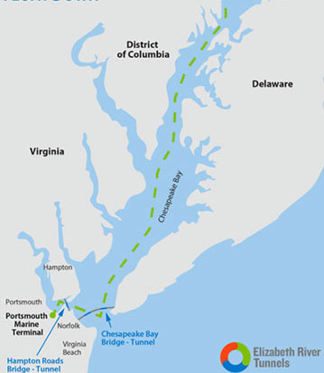 Fig 1. 200-mile journey from Baltimore dry dock