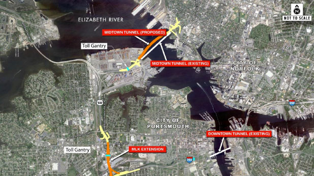 Elizabeth River tunnel locations