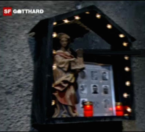 The Santa Barbara shrine as caught on video during final holethrough on the St Gotthard Baseline railway tunnel in Switzerland