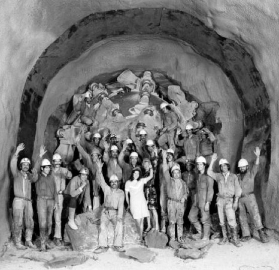 "Robbins TBM final breakthrough on the initial SPS tunnel (July 1974)"" style=""height:260px;"