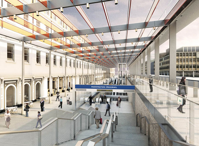 "Impression of new Crossrail Paddington Station"" style=""height:208px;"