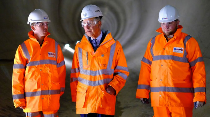 HRH Prince Charles (centre) inspects the newly completed Lee Tunnel