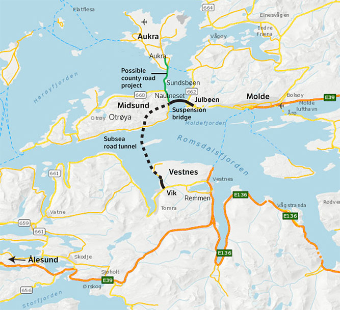 Location map of Romsdal Tunnel, in E39 strait crossing scheme