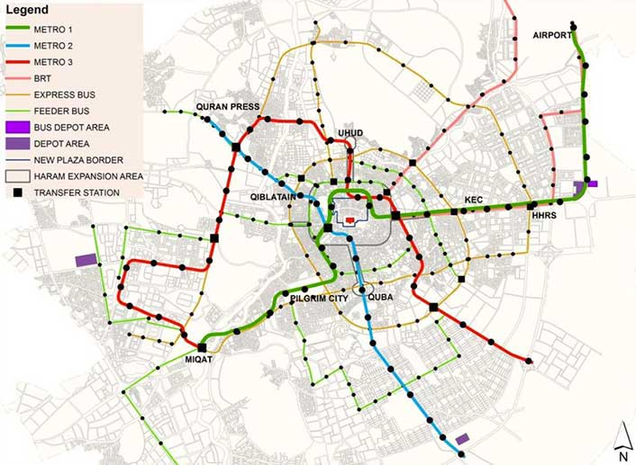 Fig 1. Three-line Medina Metro includes 25km of underground alignment