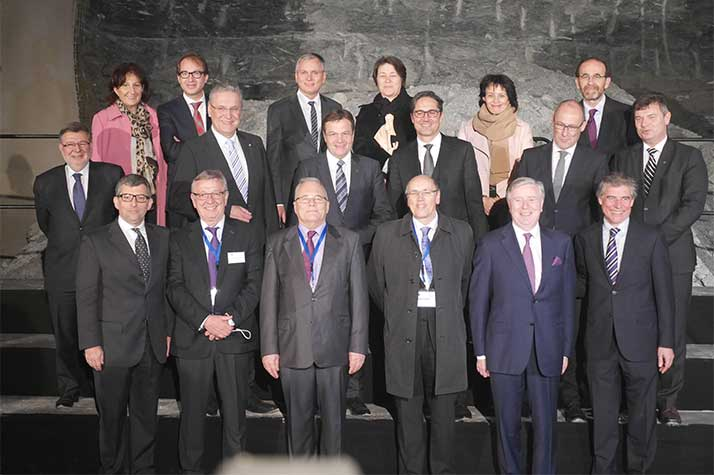 Seven European Ministers of Transport and other officials in front of the first blasted section of the Ahrental Tunnel of the Brenner Base Tunnel project in Austria